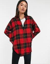 Cheap Monday Obscure Check Flannel Shirt Red