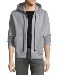 7 For All Mankind Men's Heathered Zip Front Hoodie Heather Grey