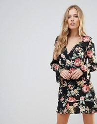 Oh My Love Floral Wrap Frill Long Sleeve Dress Red Winter Floral Multi