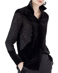 Akris Punto Kent Collar Velvet Blouse Black