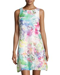 Donna Ricco Floral Printed Sleeveless Dress Pink Blue