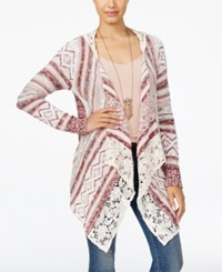 American Rag Juniors' Crocheted Handkerchief Hem Cardigan Only At Macy's Off White