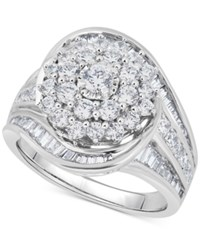 Macy's Diamond Cluster Statement Ring 2 Ct. T.W. In 14K White Gold