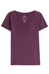 Velvet Cotton T Shirt Purple