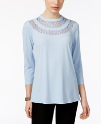 Ny Collection Lace Trim Top Chambray Blue