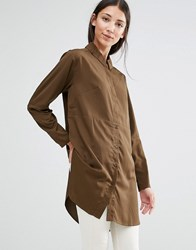 French Connection Sammy Shirt Dress In Turtle Turtle Green