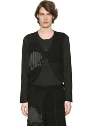 Yohji Yamamoto Henley T Shirt With Destroyed Wool Vest
