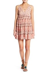 Angie Tiered Crochet Babydoll Dress Pink