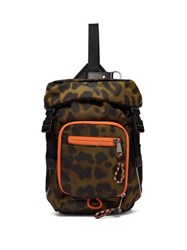 Burberry Leopard Print Mini Cross Body Backpack Green Multi