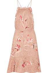 Sachin Babi And Nadia Fluted Embroidered Corded Lace Dress Antique Rose