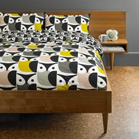 Orla Kiely Big Owl Duvet Cover Pink Warm Grey Multi