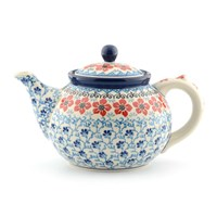 Bunzlau Castle Teapot Red Violets Large