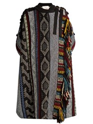 Chloe Short Sleeved Fringed Wool Blend Cape Blue Multi