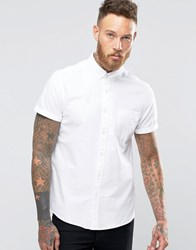 Asos Oxford Shirt In White With Short Sleeves White