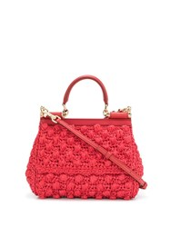 Dolce And Gabbana Small Sicily Shoulder Bag Red