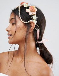 Her Curious Nature Pearl Flower Garland Headband Pink Multi