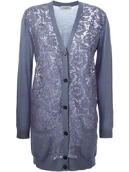 Valentino Lace Front Cardigan Grey
