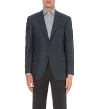 Canali Checked Wool And Cashmere Blend Jacket Dk Teal