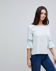 Ax Paris 3 4 Sleeve Top With Lace Detail Baby Blue