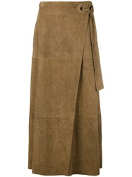 Desa Collection Pleated Midi Skirt Women Suede 38 Brown