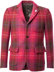 Wooster Lardini Tartan Blazer Pink And Purple