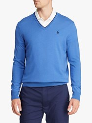 Ralph Lauren Polo Golf By Merino Wool V Neck Jumper Indigo Sky