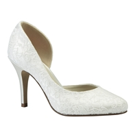 Cathy Lace Round Toe Court Shoes Ivory