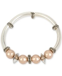 Kenneth Cole New York Silver Tone Imitation Pearl And Crystal Stretch Bracelet