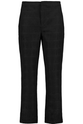 Marni Cropped Brocade Straight Leg Pants Black