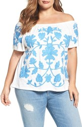 Democracy Plus Size Women's Applique Off The Shoulder Top