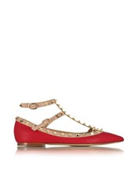 Valentino Rockstud Red And Powder Pink Leather Ballerina