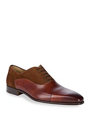 Saks Fifth Avenue By Magnanni Captoe Bulcher Shoes Cognac