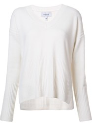 Derek Lam 10 Crosby V Neck Ribbed Detailing Jumper White