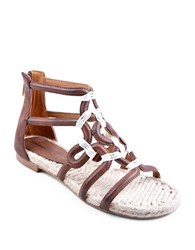 Adrienne Vittadini Pablic Leather Sandals Dark Brown