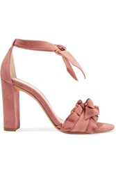 Alexandre Birman Lupita Ruffle Trimmed Suede Sandals Antique Rose