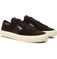 Tom Ford Cambridge Leather Trimmed Velvet Sneakers Brown