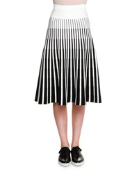 Tomas Maier Striped Knit A Line Skirt Black White