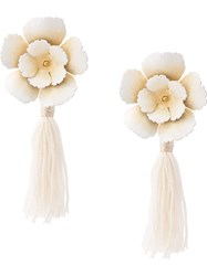 Jennifer Behr Flower Draped Earrings White