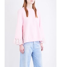 Clu Broderie Anglaise Cotton Jersey Sweatshirt Light Pink