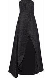 Mikael Aghal Woman Strapless Layered Brocade Gown Black