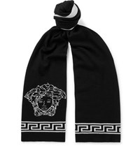 Versace Logo Intarsia Wool And Silk Blend Scarf Black