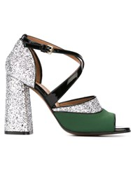 Marni 'One Band' Glitter Sandals Green