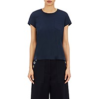 Sacai Women's Pleated Back T Shirt Navy