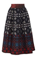 Anna Sui Peacock And Flower Jacquard Skirt Blue Red White