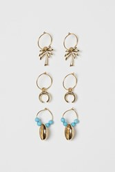 Handm H M 3 Pairs Hoop Earrings Turquoise