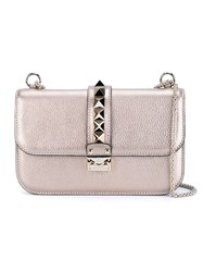 Valentino Garavani 'Glam Lock' Metallic Shoulder Bag Nude And Neutrals