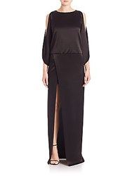 Halston Solid Boatneck Gown Black