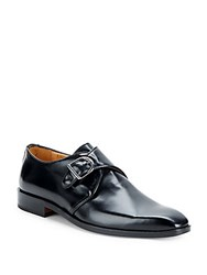 Saks Fifth Avenue Solid Leather Monk Strap Shoes Black