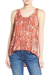 Junior Women's Sun And Shadow Print Tie Back High Low Tank