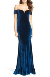 La Femme Women's Velvet Off The Shoulder Gown